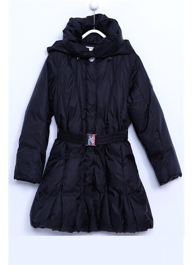 Silversun Kids Kız Çocuk Şapkalı Kemerli Şişme Mont Mc 9194 Siyah